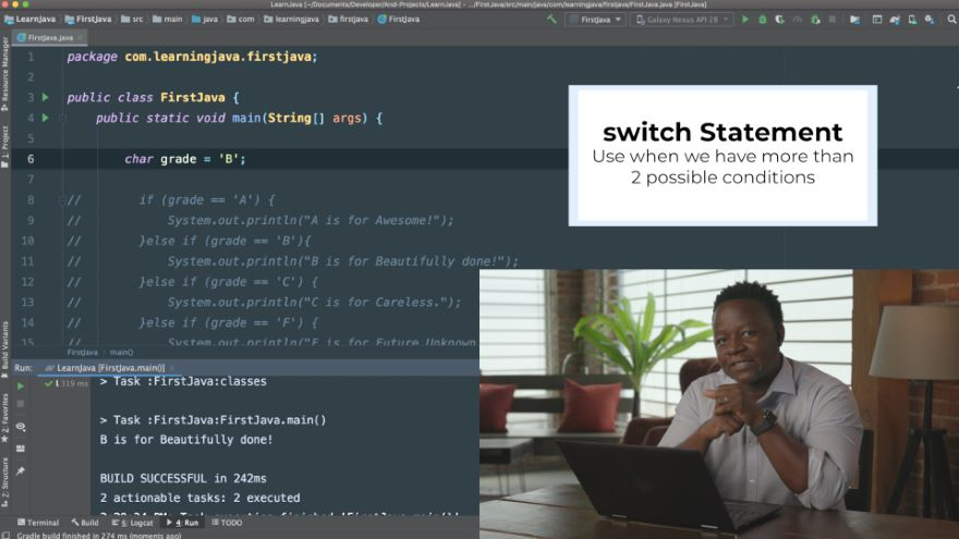 Multiple Branches with the Java switch Statement