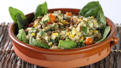 Corn and Quinoa Salad with Portobello Mushrooms
